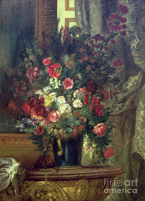 Vase Of Flowers On A Console Print by Eugene Delacroix