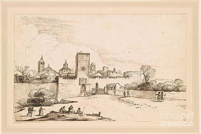 Giovanni Francesco Barbieri Painting -  View Of A Walled Town by Giovanni Francesco Barbieri