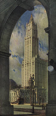 Grant Park Drawing -  View Of The Woolworth Building by American School