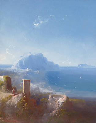 Sea Painting -  View To Cap Misenum And Capri by Celestial Images