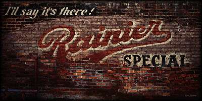 Wa Digital Art -  Vintage Rainier Sign by DMSprouse Art