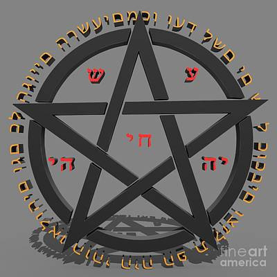 Witchcraft Concept With Hebrew Text  Print by Ilan Rosen