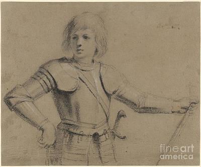 Giovanni Francesco Barbieri Painting -  Young Boy In Armor by Giovanni Francesco