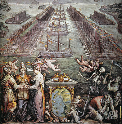 Papacy Painting - Battle Of Lepanto, 1571 by Granger