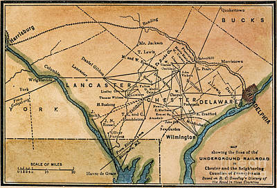 African American Painting - Underground Railroad Map by Granger