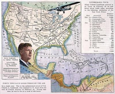Aviator Painting - Charles Lindbergh by Granger