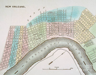 Painting - New Orleans Map, 1837 by Granger