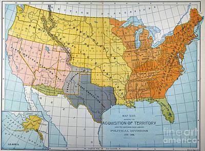 Manifest Destiny Painting - U.s. Map, 1776/1884 by Granger