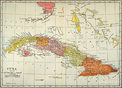 Turn Of The Century Painting - Map: Cuba, 1900 by Granger