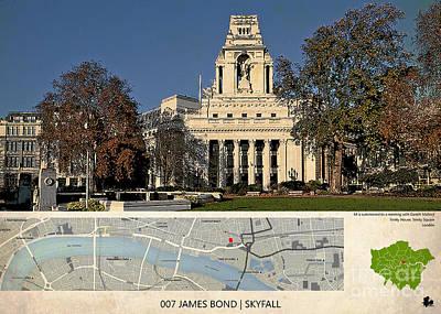 Adele Digital Art - 007 James Bond Skyfall Location Map, London by Pablo Franchi