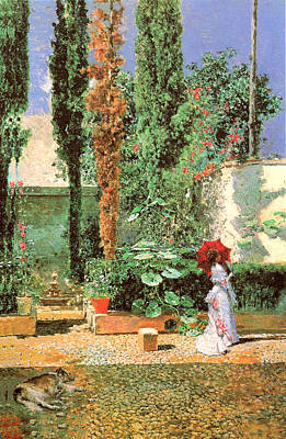 Woman In Red Dress Painting - Fortunys Garden by Mariano Fortuny