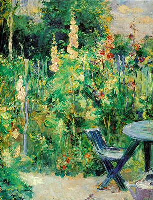 Lawn Chairs Painting - Hollyhocks by Berthe Morisot
