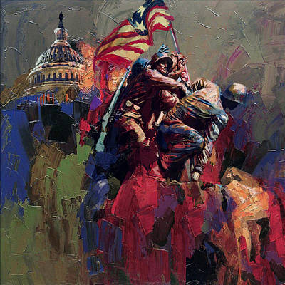 Capitol Building Painting - 062 Jima Marine Memorial Washington Dc by Maryam Mughal