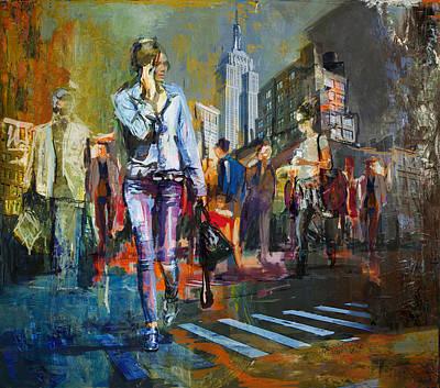 066 Ny Manhattan Street View New York Print by Maryam Mughal