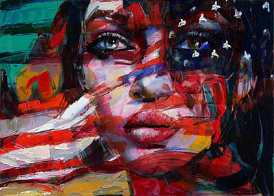 Abstract American Flag Painting - 089 Flag And Eyes by Mahnoor Shah