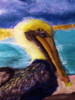 Pallet Knife Digital Art - 091415 Pelican by Garland Oldham