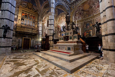 Medieval Temple Photograph -  Interior Of Siena Cathedral, Italian Duomo Di Siena With Mosaic Floor by Michal Bednarek