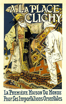 A La Place Clichy Print by Eugene Grasset