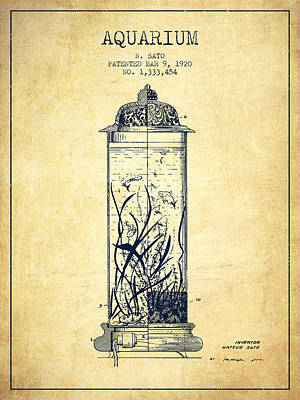 Turtle Drawing - 1902 Aquarium Patent - Vintage by Aged Pixel
