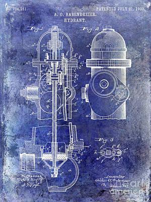 1903 Fire Hydrant Patent Blue Print by Jon Neidert