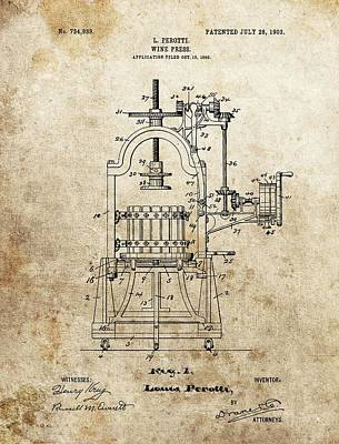 Red Wine Drawing - 1903 Wine Press Patent by Dan Sproul