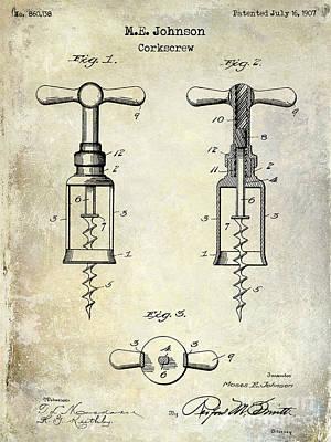 1907 Photograph - 1907 Corkscrew Patent  by Jon Neidert