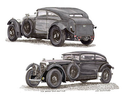 Radiator Drawing - 1930 Bentley Blue Train Coupe by Jack Pumphrey