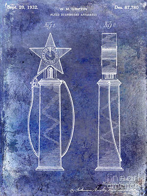 1932 Gas Pump Patent Blue Print by Jon Neidert