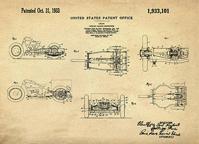 Tricycle Drawing - 1933 Indian Motor Tricycle Patent by Bill Cannon