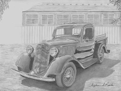 Classic Truck Drawing - 1935 Dodge Pickup Truck Art Print by Stephen Rooks