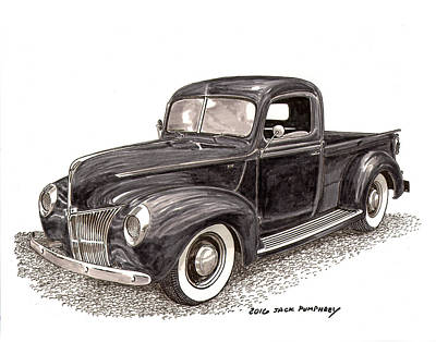 Watercolor With Pen Painting - 1940 Ford Pick Up Truck by Jack Pumphrey
