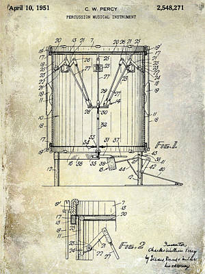 1951 Drum Patent Blue Print by Jon Neidert