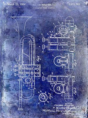 Vintage Music Photograph - 1954 Trumpet Patent by Jon Neidert