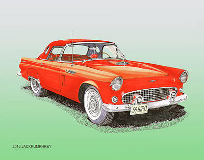 Comfort Drawing - 1956 Ford Thunderbird by Jack Pumphrey