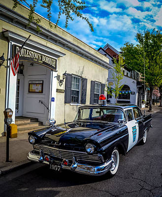 1957 Doylestown Borough Police Cruiser Print by Michael Brooks