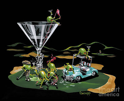 Martini Glasses Painting - 19th Hole by Michael Godard