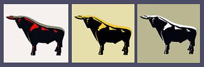 3 Bulls Print by Slade Roberts