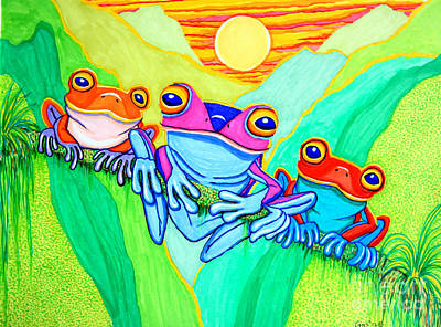 Amphibians Drawing - 3 Little Frogs by Nick Gustafson