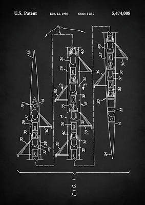 Oars Digital Art - 8 Man Rowing Shell Patent by Taylan Apukovska