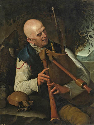Pietro Paolini Painting - A Bagpiper by Pietro Paolini