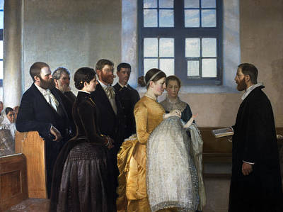 A Baptism Print by Michael Ancher