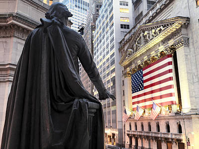 Nyse Photograph - A Bronze Statue Of George Washington by Justin Guariglia