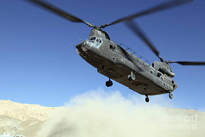 A Ch-47 Chinook Prepares To Land Print by Stocktrek Images