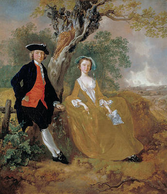 Couple Painting - A Couple In A Landscape by Thomas Gainsborough