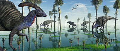 A Group Of Parasaurolophus Duckbill Print by Mark Stevenson