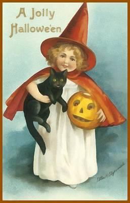 Halloween Card Photograph - A Jolly Halloween by Ellon Clapsaddle