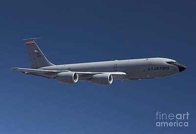 Stratotanker Photograph - A Kc-135r Flies A Training Mission by HIGH-G Productions