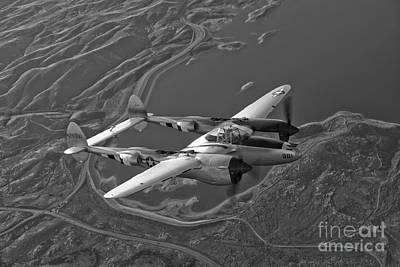 A Lockheed P-38 Lightning Fighter Print by Scott Germain