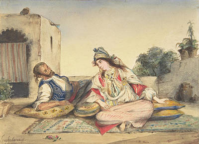 Delacroix Painting - A Moorish Couple On Their Terrace by Eugene Delacroix