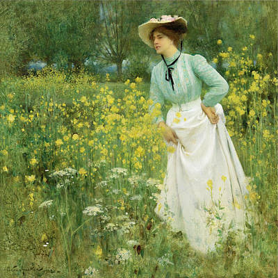 Arthur Hacker Painting - A Morning Walk by Arthur Hacker